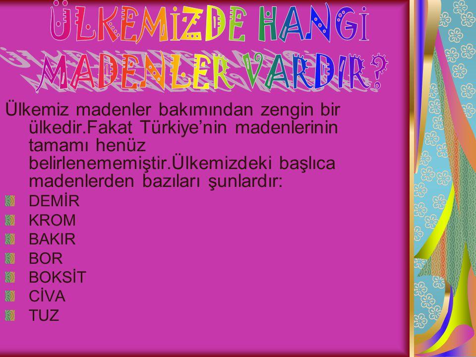 Ülkemiz madenler bakımından zengin bir ülkedir.Fakat Türkiye'nin madenlerinin tamamı henüz belirlenememiştir.Ülkemizdeki başlıca madenlerden bazıları şunlardır: DEMİR KROM BAKIR BOR BOKSİT CİVA TUZ