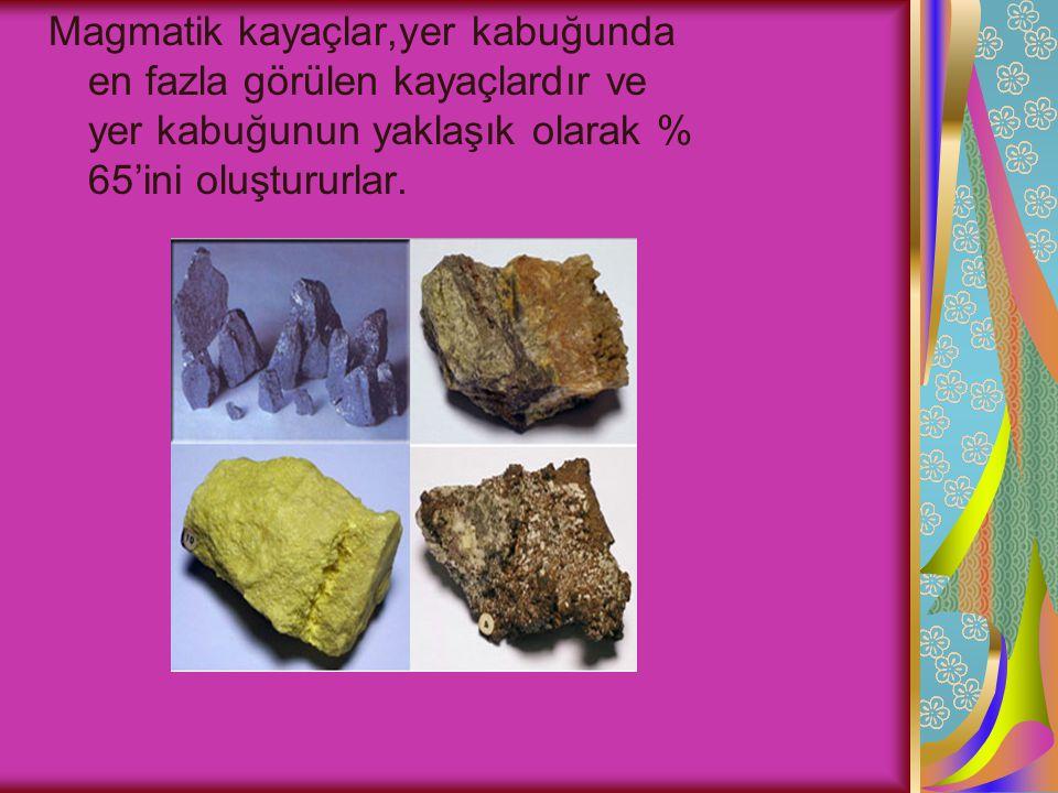 Magmatik kayaçlar,yer kabuğunda en fazla görülen kayaçlardır ve yer kabuğunun yaklaşık olarak % 65'ini oluştururlar.