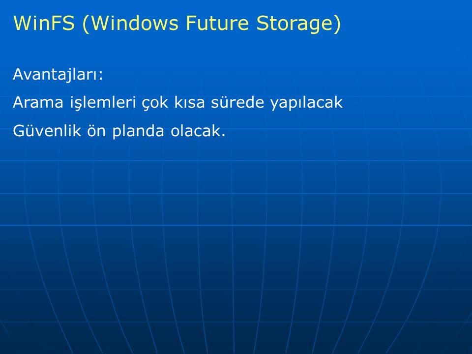 WinFS (Windows Future Storage) Avantajları: Arama işlemleri çok kısa sürede yapılacak Güvenlik ön planda olacak.