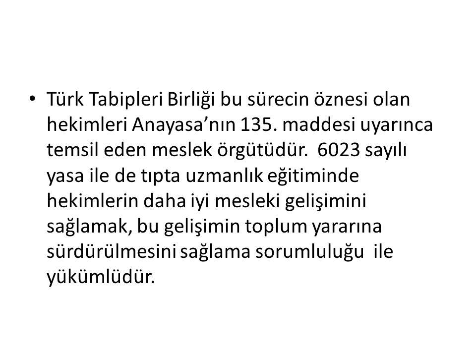 Türk Tabipleri Birliği bu sürecin öznesi olan hekimleri Anayasa'nın 135. maddesi uyarınca temsil eden meslek örgütüdür. 6023 sayılı yasa ile de tıpta