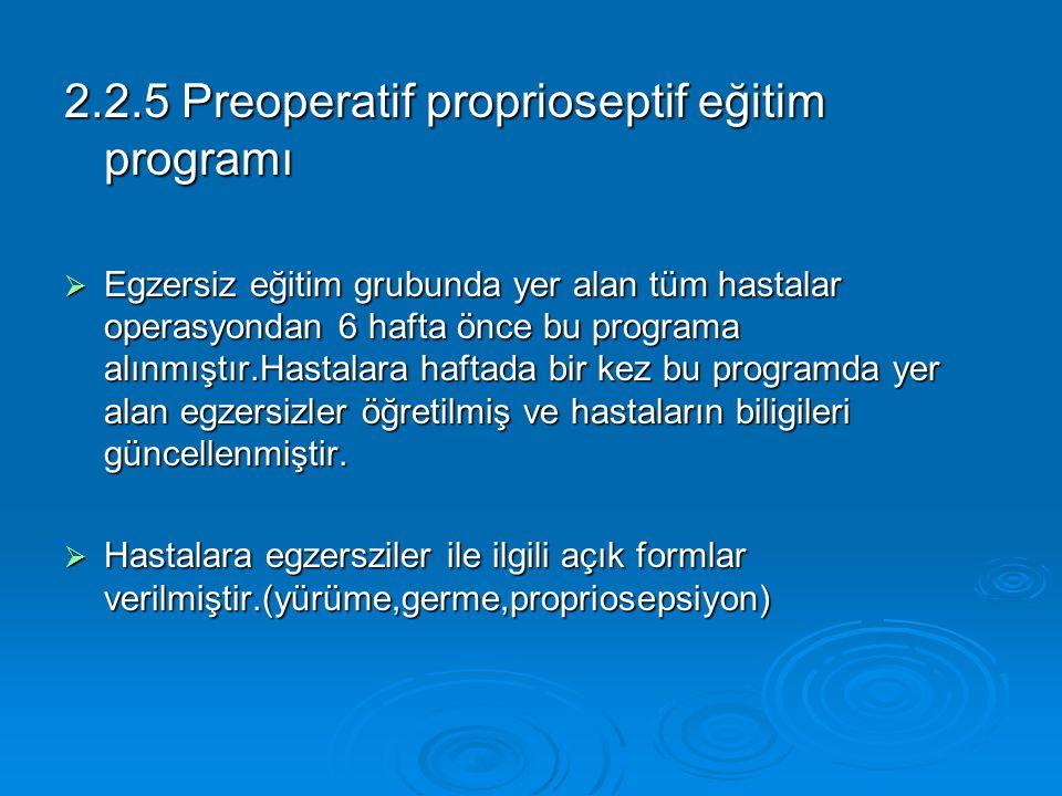 2.2.5 Preoperatif proprioseptif eğitim programı  Egzersiz eğitim grubunda yer alan tüm hastalar operasyondan 6 hafta önce bu programa alınmıştır.Hast