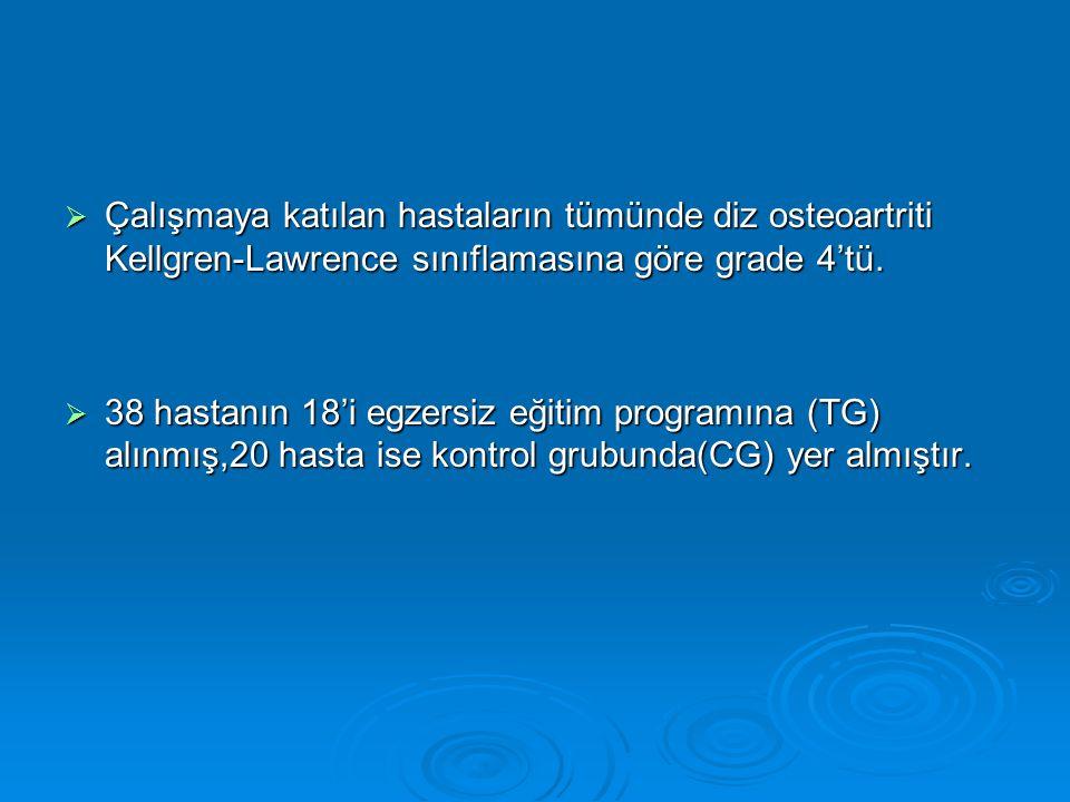  Çalışmaya katılan hastaların tümünde diz osteoartriti Kellgren-Lawrence sınıflamasına göre grade 4'tü.  38 hastanın 18'i egzersiz eğitim programına