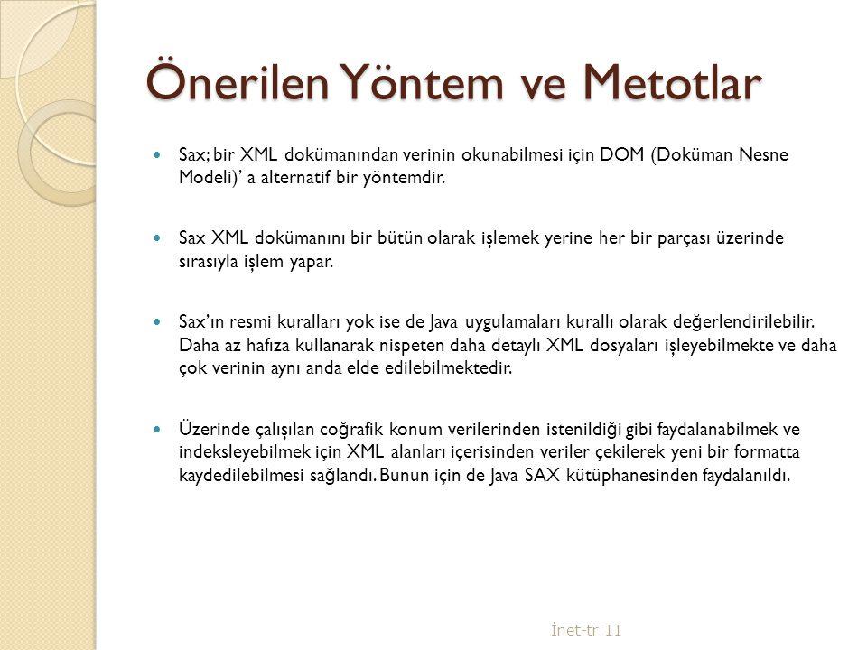 Önerilen Yöntem ve Metotlar Sax; bir XML dokümanından verinin okunabilmesi için DOM (Doküman Nesne Modeli)' a alternatif bir yöntemdir.