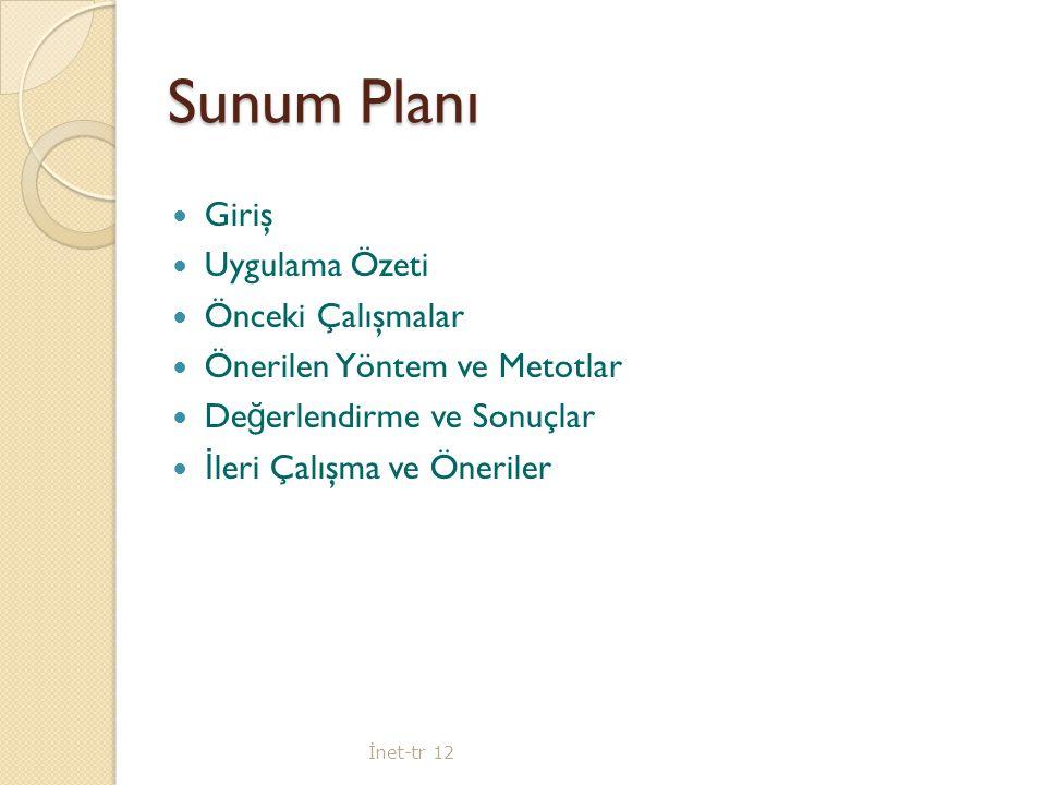Sunum Planı Giriş Uygulama Özeti Önceki Çalışmalar Önerilen Yöntem ve Metotlar De ğ erlendirme ve Sonuçlar İ leri Çalışma ve Öneriler İ net-tr 12