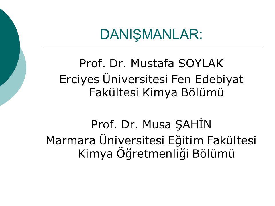 DANIŞMANLAR: Prof. Dr. Mustafa SOYLAK Erciyes Üniversitesi Fen Edebiyat Fakültesi Kimya Bölümü Prof. Dr. Musa ŞAHİN Marmara Üniversitesi Eğitim Fakült