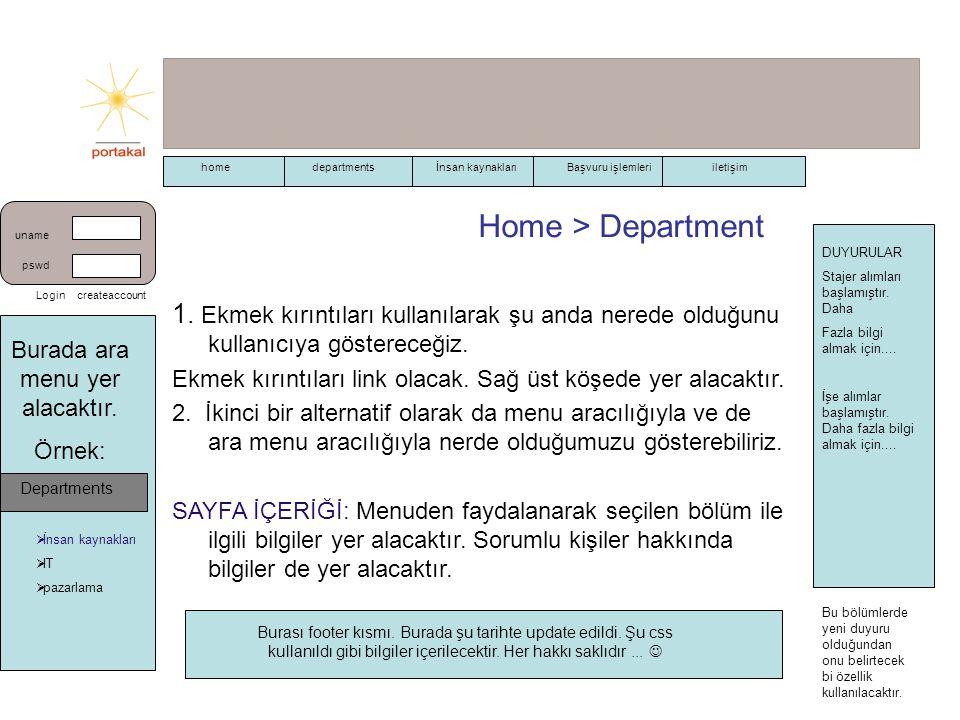 Home > Department 1. Ekmek kırıntıları kullanılarak şu anda nerede olduğunu kullanıcıya göstereceğiz. Ekmek kırıntıları link olacak. Sağ üst köşede ye