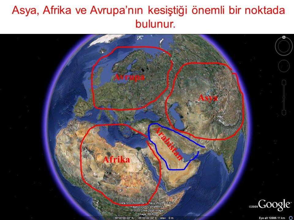 Asya, Afrika ve Avrupa'nın kesiştiği önemli bir noktada bulunur. Avrupa Asya Afrika Arabistan