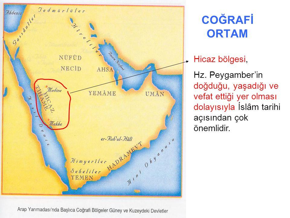 COĞRAFİ ORTAM Hicaz bölgesi, Hz. Peygamber'in doğduğu, yaşadığı ve vefat ettiği yer olması dolayısıyla İslâm tarihi açısından çok önemlidir.