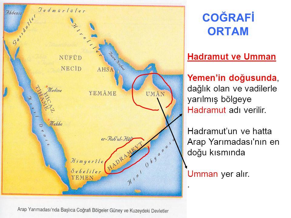 COĞRAFİ ORTAM Hadramut ve Umman Yemen'in doğusunda, dağlık olan ve vadilerle yarılmış bölgeye Hadramut adı verilir. Hadramut'un ve hatta Arap Yarımada