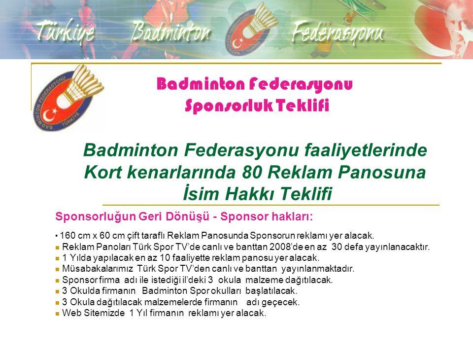 Badminton Federasyonu Sponsorluk Teklifi Badminton Federasyonu faaliyetlerinde Kort kenarlarında 80 Reklam Panosuna İsim Hakkı Teklifi Sponsorluğun Geri Dönüşü - Sponsor hakları: 160 cm x 60 cm çift taraflı Reklam Panosunda Sponsorun reklamı yer alacak.