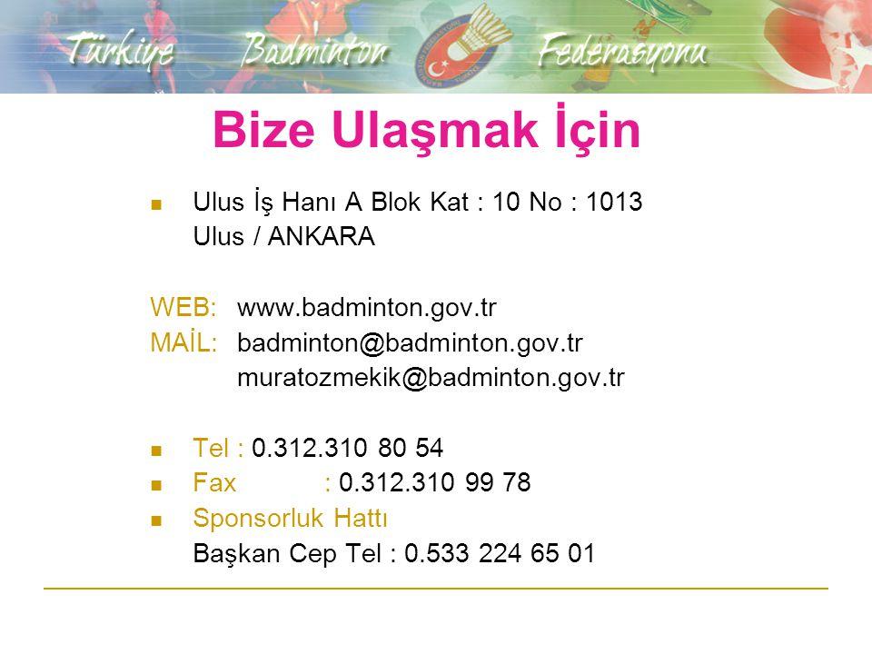 Bize Ulaşmak İçin Ulus İş Hanı A Blok Kat : 10 No : 1013 Ulus / ANKARA WEB:www.badminton.gov.tr MAİL:badminton@badminton.gov.tr muratozmekik@badminton