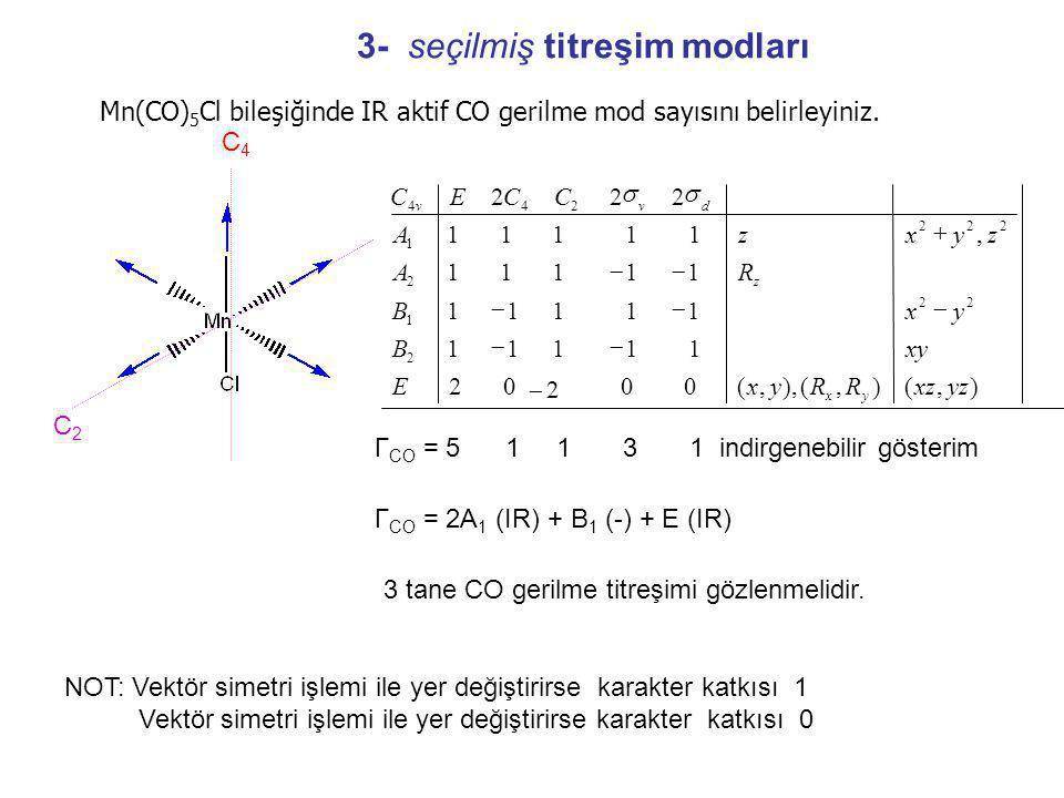Mn(CO) 5 Cl bileşiğinde IR aktif CO gerilme mod sayısını belirleyiniz.