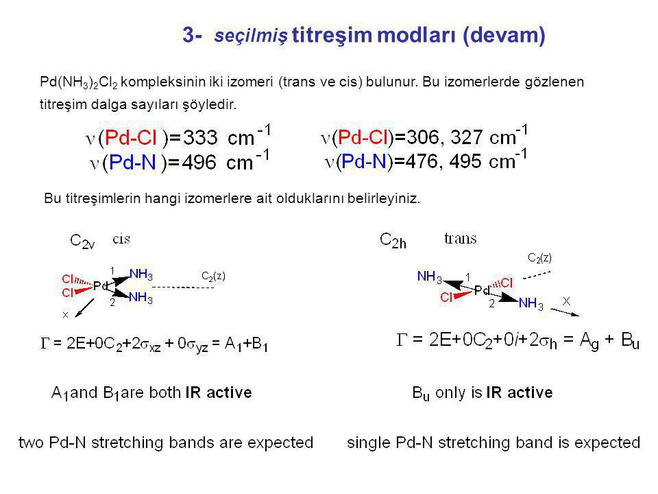 3- seçilmiş titreşim modları (devam) Pd(NH 3 ) 2 Cl 2 kompleksinin iki izomeri (trans ve cis) bulunur.
