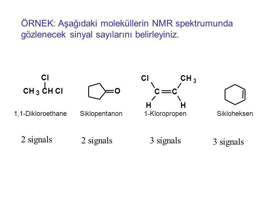 4- NMR Sinyal sayısı Nokta grubundaki simetri elemanlarından biri ile birbiri üzerine taşınabilen atomlar eşdeğerdir.