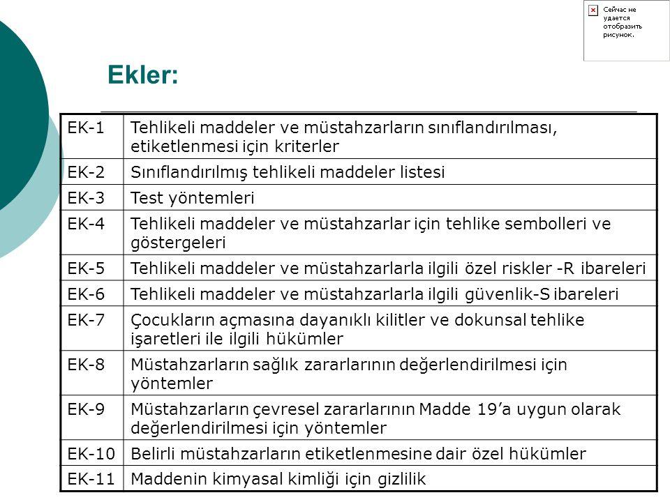 Ekler: EK-1Tehlikeli maddeler ve müstahzarların sınıflandırılması, etiketlenmesi için kriterler EK-2Sınıflandırılmış tehlikeli maddeler listesi EK-3Te
