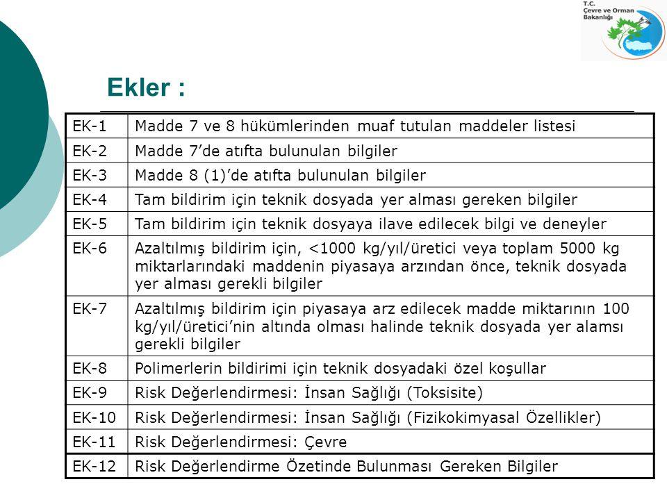 Ekler : EK-1Madde 7 ve 8 hükümlerinden muaf tutulan maddeler listesi EK-2Madde 7'de atıfta bulunulan bilgiler EK-3Madde 8 (1)'de atıfta bulunulan bilg