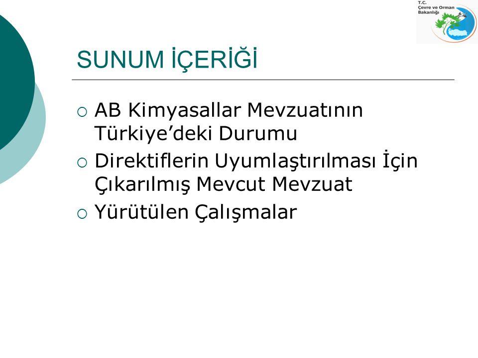 AB Kimyasallar Mevzuatının Türkiye'deki Durumu Ulusal Programa göre Çevre ve Orman Bakanlığı;  Direktifler : 67/548/EEC 99/45/EC (TKB – pestisitler ) 93/67/EC 91/155/EEC 76/769/EEC (TKB + SB)  Tüzükler : 793/93/EC 304/2003/EC uyumlaştırılmasından sorumludur.