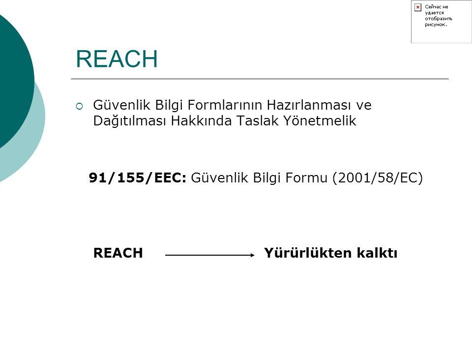 REACH  Maddelerin Envanteri, Bildirimi ve Risk Değerlendirmesi Usul ve Esasları Hakkında Taslak Yönetmelik 793/93/EEC: Mevcut maddelerin risklerinin değerlendirilmesi ve kontrol edilmesi 93/67/EEC : Bildirimi yapılan maddelerin risk değerlendirme prensipler REACH Yürürlükten kalkacak