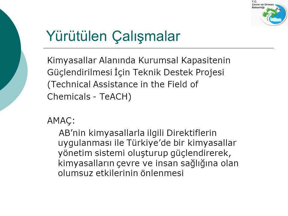 Proje ile  Türkiye pazarındaki kimyasalların envanterinin hazırlanması,  Türkiye'nin Kimyasallar Sektör Stratejisi'nin güncellenmesi, yasal çerçevenin analizi ve yeni mevzuat taslaklarının hazırlanması,  Eğiticilerin eğitimi programını oluşturup gerçekleştirilmesi (Bilgilendirme ve çıktıların paylaşılması).