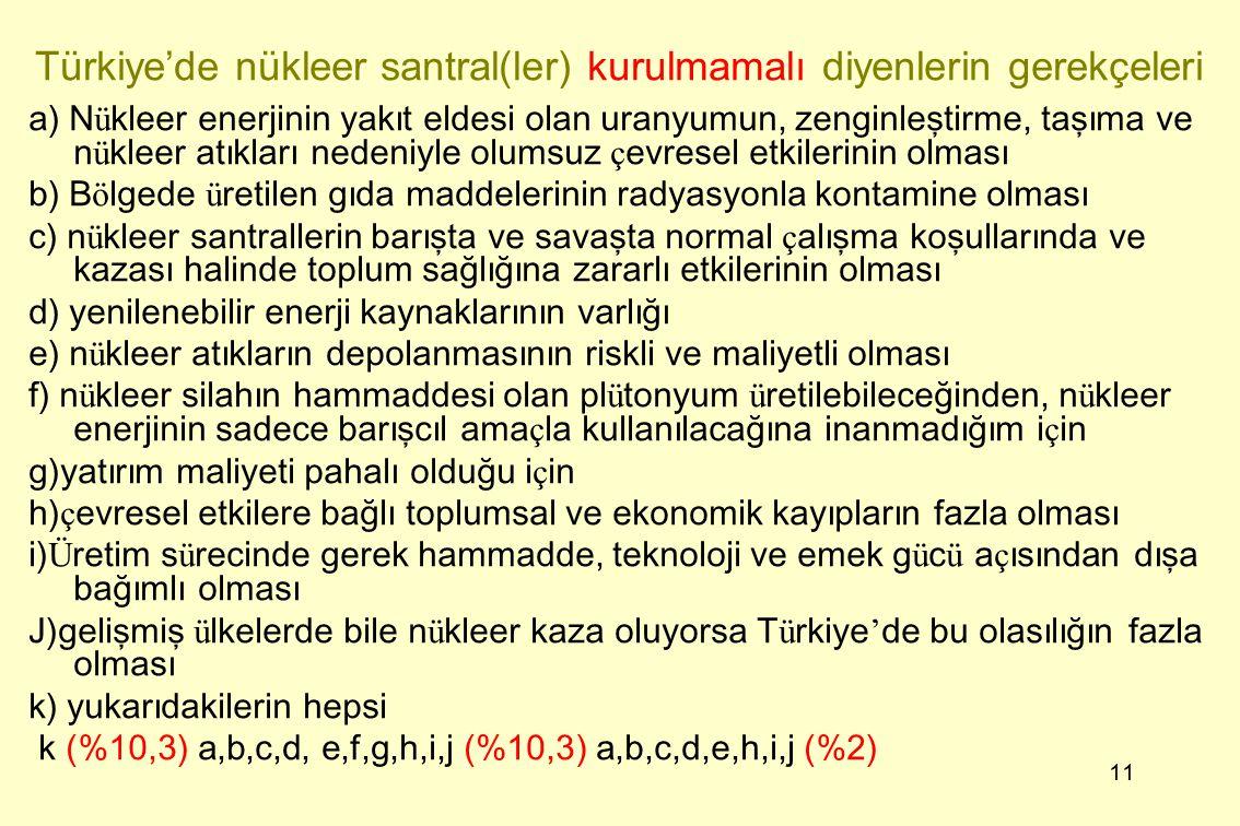 11 Türkiye'de nükleer santral(ler) kurulmamalı diyenlerin gerekçeleri a) N ü kleer enerjinin yakıt eldesi olan uranyumun, zenginleştirme, taşıma ve n