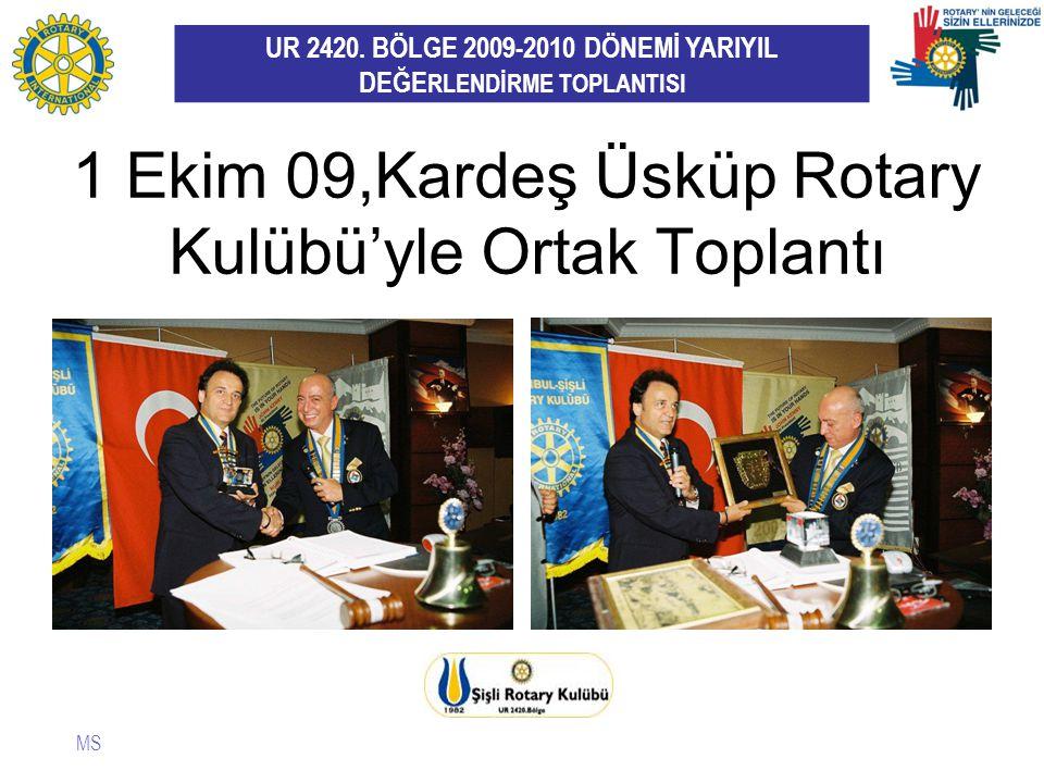 UR 2420. BÖLGE 2009-2010 DÖNEMİ YARIYIL DEĞE RLENDİRME TOPLANTISI 1 Ekim 09,Kardeş Üsküp Rotary Kulübü'yle Ortak Toplantı MS
