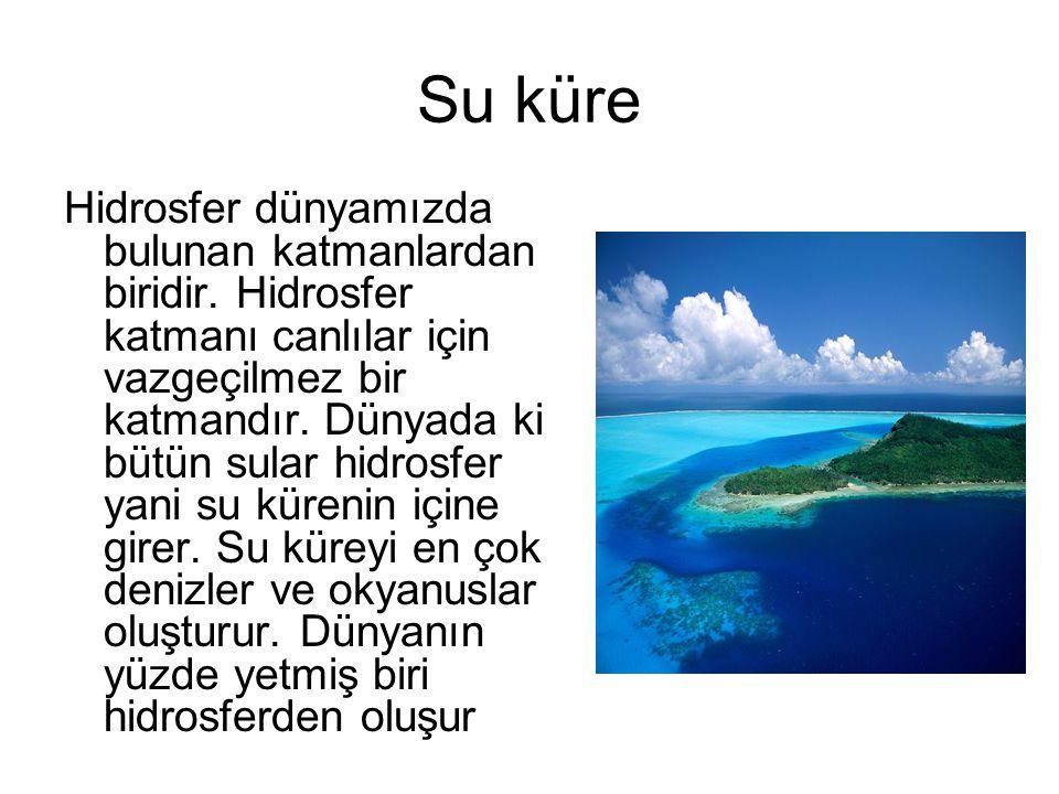 Su küre Hidrosfer dünyamızda bulunan katmanlardan biridir. Hidrosfer katmanı canlılar için vazgeçilmez bir katmandır. Dünyada ki bütün sular hidrosfer