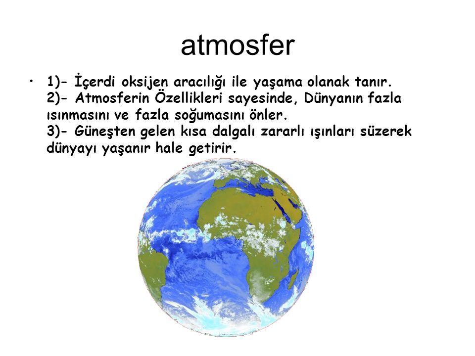 atmosfer 1)- İçerdi oksijen aracılığı ile yaşama olanak tanır. 2)- Atmosferin Özellikleri sayesinde, Dünyanın fazla ısınmasını ve fazla soğumasını önl