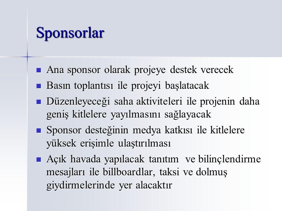 Sponsorlar Ana sponsor olarak projeye destek verecek Ana sponsor olarak projeye destek verecek Basın toplantısı ile projeyi başlatacak Basın toplantıs