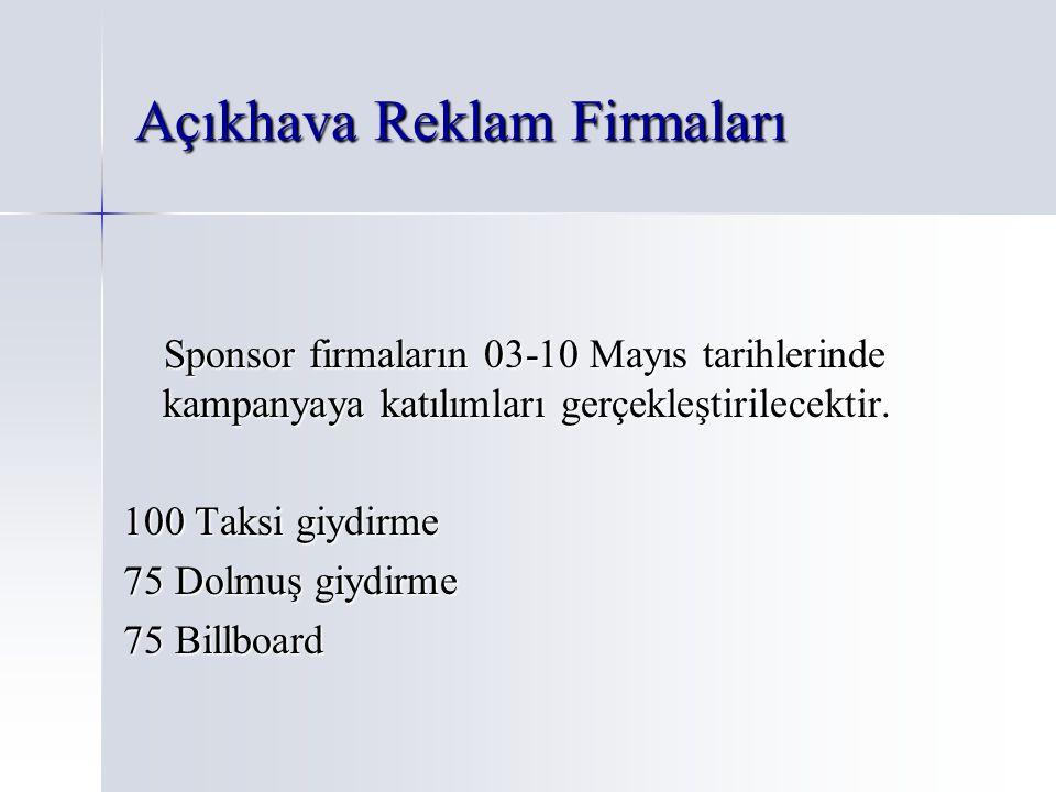 Açıkhava Reklam Firmaları Sponsor firmaların 03-10 Mayıs tarihlerinde kampanyaya katılımları gerçekleştirilecektir. Sponsor firmaların 03-10 Mayıs tar