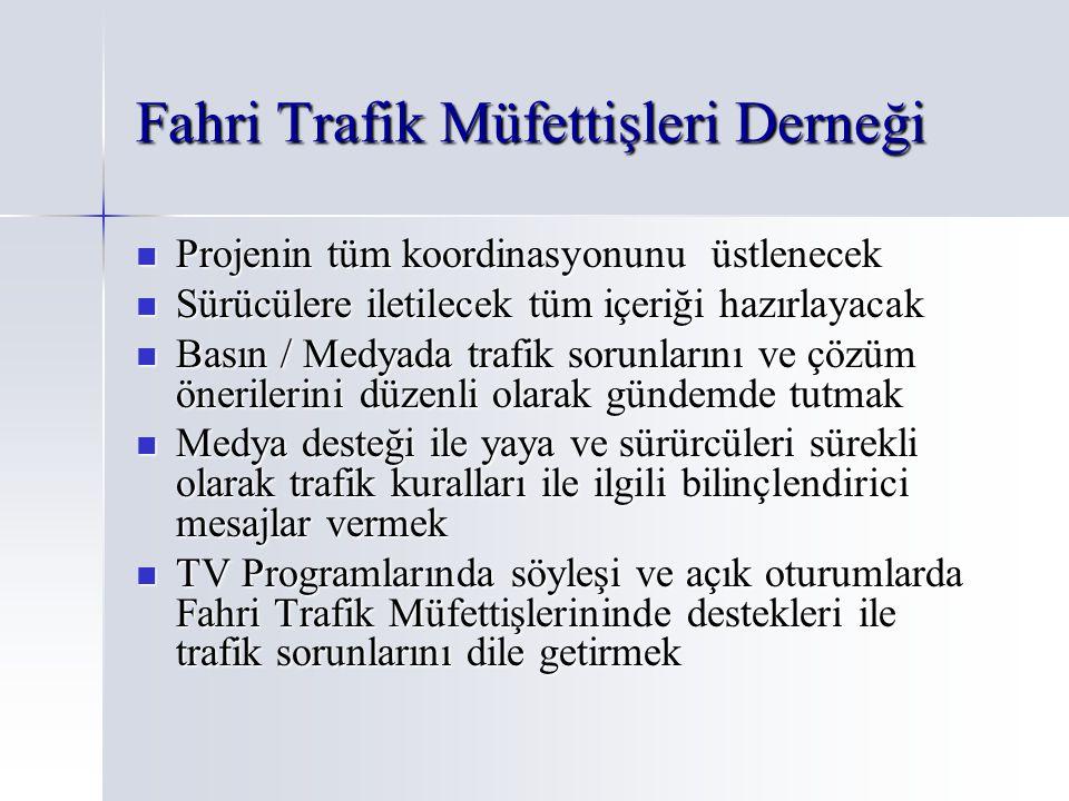 Fahri Trafik Müfettişleri Derneği Projenin tüm koordinasyonunu üstlenecek Projenin tüm koordinasyonunu üstlenecek Sürücülere iletilecek tüm içeriği ha