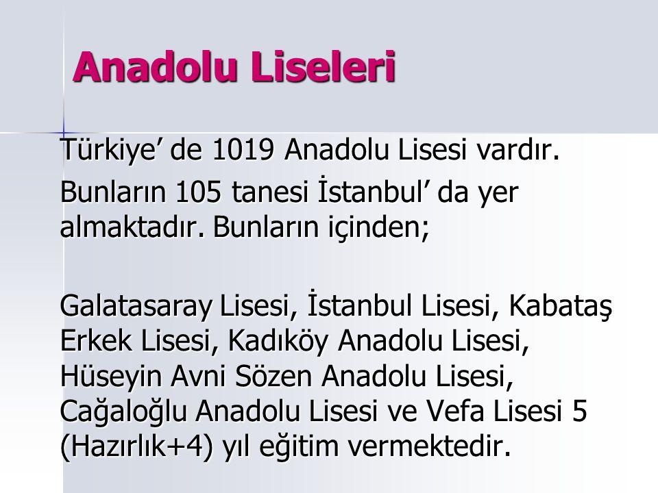Anadolu Liseleri Türkiye' de 1019 Anadolu Lisesi vardır.