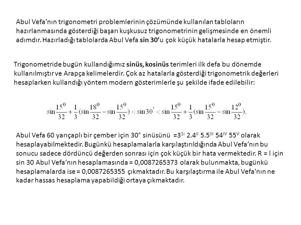 Abul Vefa küresel trigonometri hesaplamaları için yeni aletler geliştirdi.