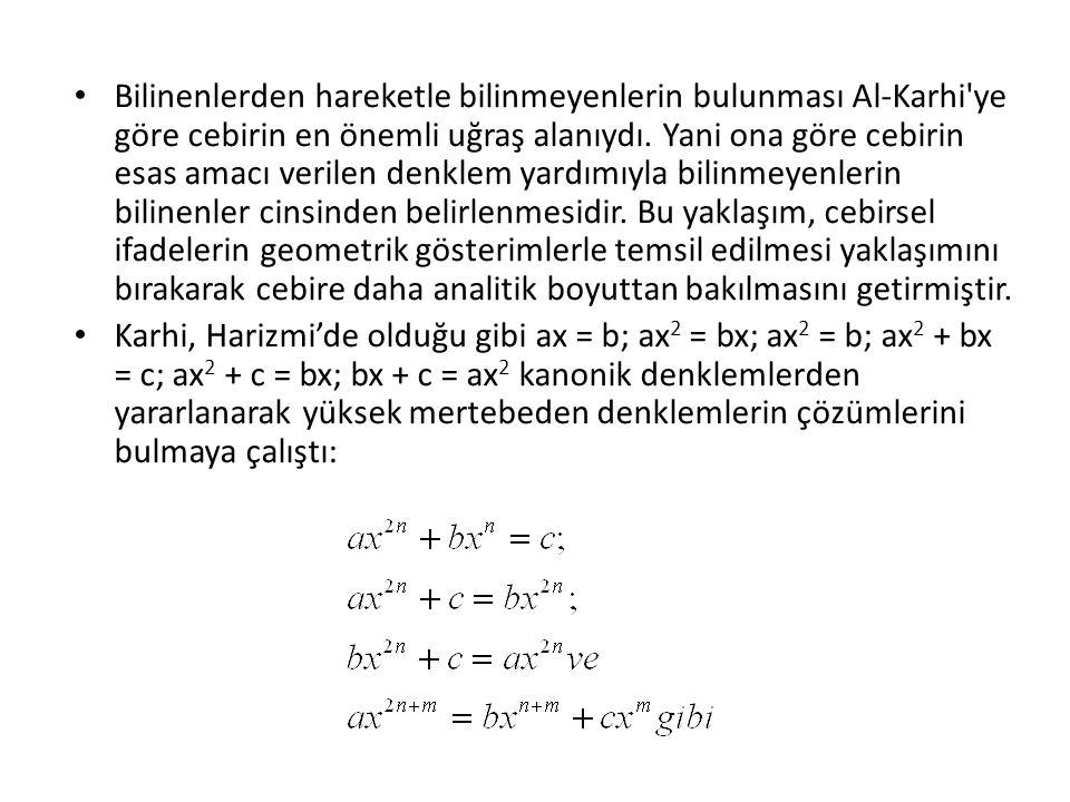 Karkhi, Abu-Kamil'i de izleyerek lineer denklem sistemlerini çözmeye çalıştı.