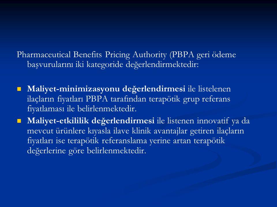 Pharmaceutical Benefits Pricing Authority (PBPA geri ödeme başvurularını iki kategoride değerlendirmektedir: Maliyet-minimizasyonu değerlendirmesi ile