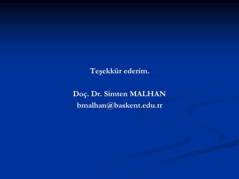 Teşekkür ederim. Doç. Dr. Simten MALHAN bmalhan@baskent.edu.tr