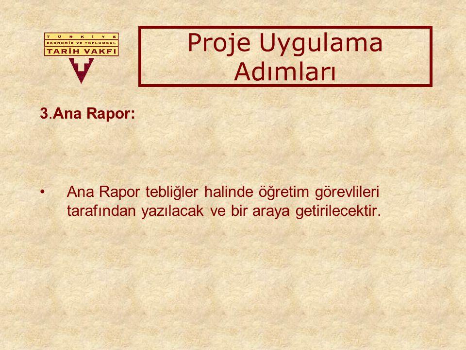 3.Ana Rapor: Ana Rapor tebliğler halinde öğretim görevlileri tarafından yazılacak ve bir araya getirilecektir.