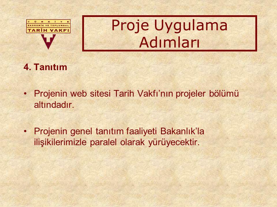 4. Tanıtım Projenin web sitesi Tarih Vakfı'nın projeler bölümü altındadır.