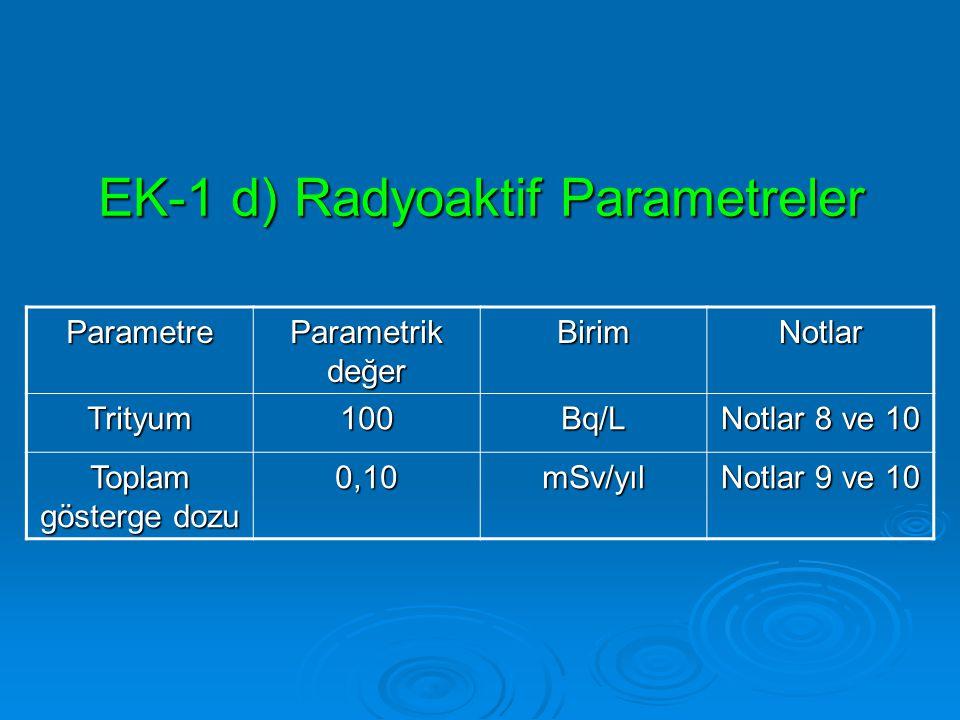 EK-1 d) Radyoaktif Parametreler Parametre Parametrik değer BirimNotlar Trityum100Bq/L Notlar 8 ve 10 Toplam gösterge dozu 0,10mSv/yıl Notlar 9 ve 10