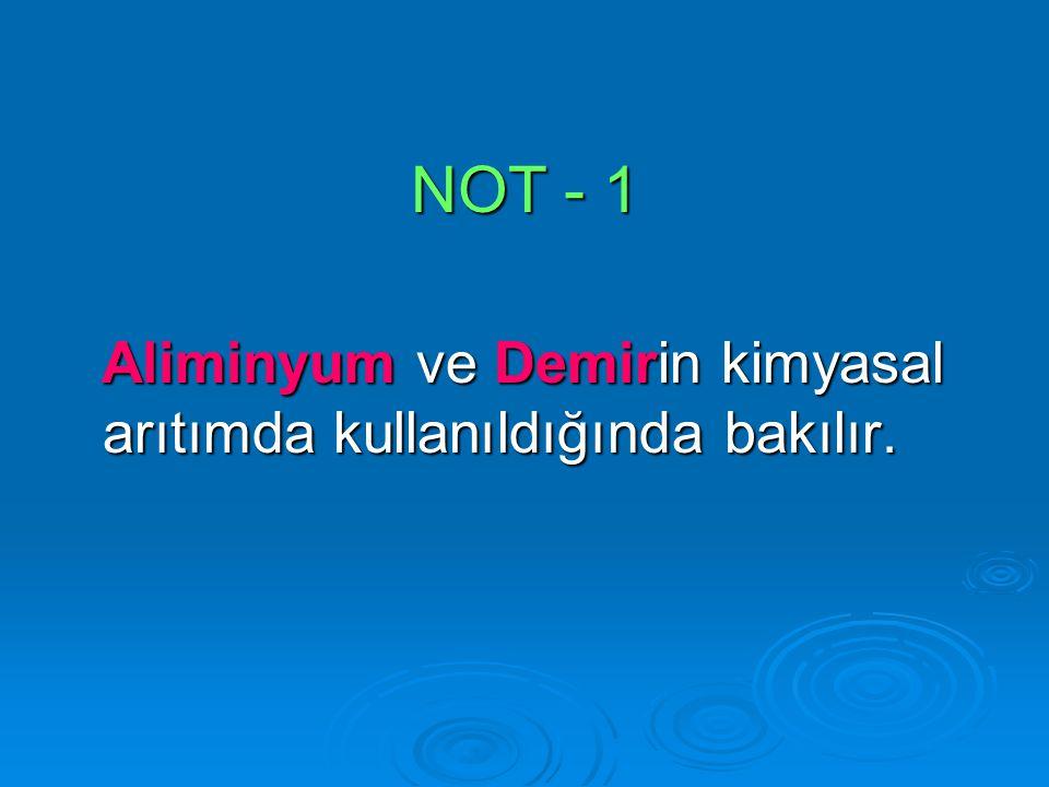 NOT - 1 Aliminyum ve Demirin kimyasal arıtımda kullanıldığında bakılır. Aliminyum ve Demirin kimyasal arıtımda kullanıldığında bakılır.