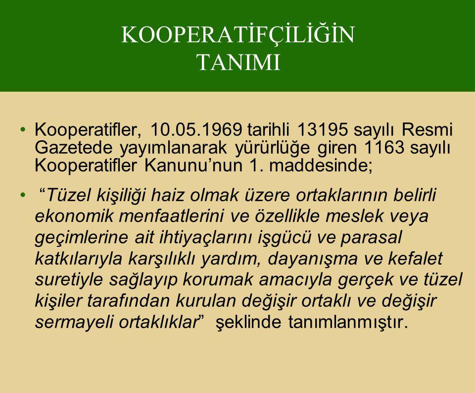 KOOPERATİFÇİLİĞİN TANIMI Kooperatifler, 10.05.1969 tarihli 13195 sayılı Resmi Gazetede yayımlanarak yürürlüğe giren 1163 sayılı Kooperatifler Kanunu'n