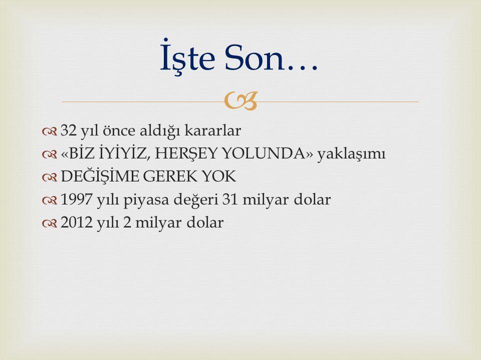   32 yıl önce aldığı kararlar  «BİZ İYİYİZ, HERŞEY YOLUNDA» yaklaşımı  DEĞİŞİME GEREK YOK  1997 yılı piyasa değeri 31 milyar dolar  2012 yılı 2