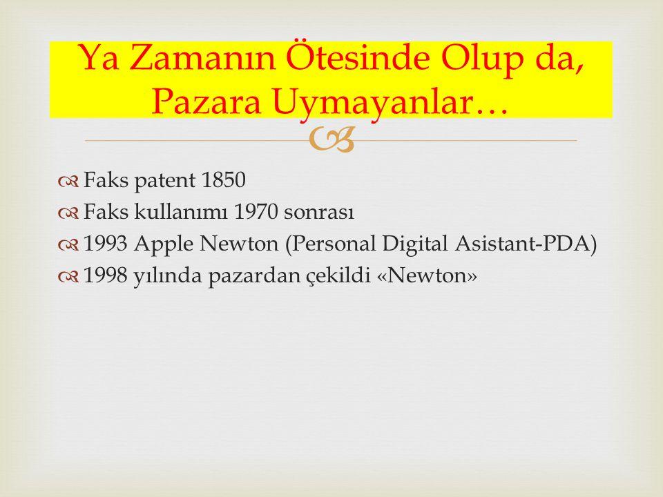   Faks patent 1850  Faks kullanımı 1970 sonrası  1993 Apple Newton (Personal Digital Asistant-PDA)  1998 yılında pazardan çekildi «Newton» Ya Zam