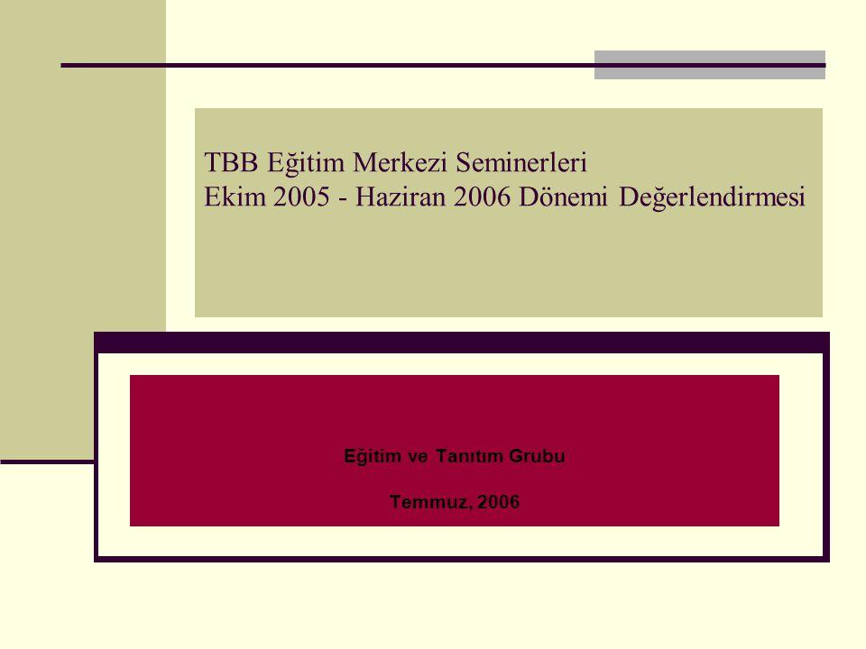 TBB Eğitim Merkezi Seminerleri Ekim 2005 - Haziran 2006 Dönemi Değerlendirmesi Eğitim ve Tanıtım Grubu Temmuz, 2006