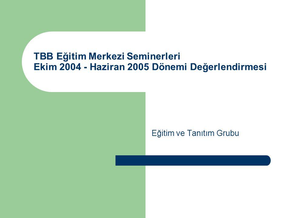 Giriş Bu çalışma, TBB Eğitim Merkezi'nde Ekim 2004 – Haziran 2005 Dönemi'nde düzenlenen seminerlere ilişkin verilerin derlenmesi sonucu oluşmuştur.