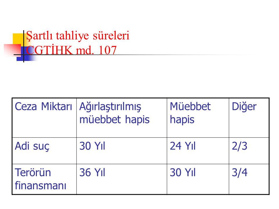 Şartlı tahliye süreleri CGTİHK md.