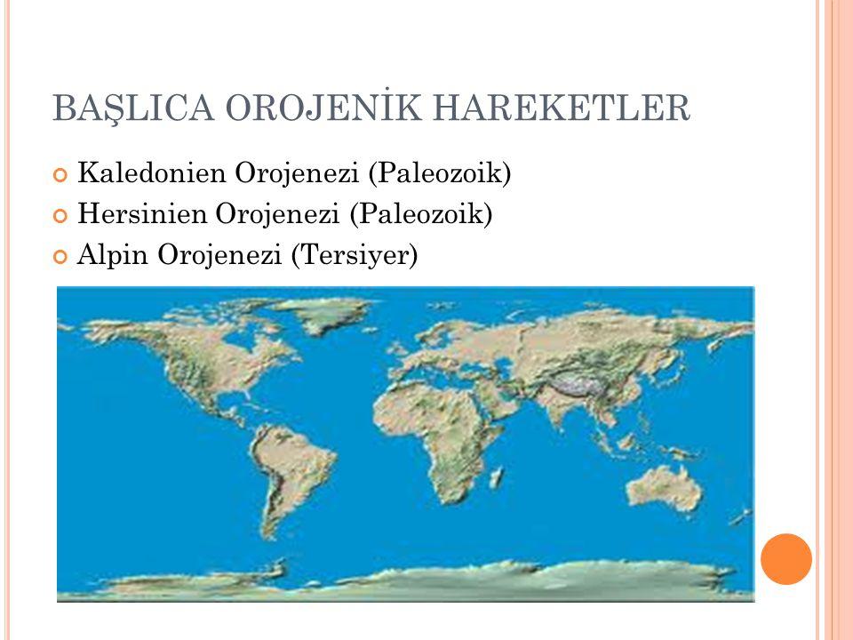 BAŞLICA OROJENİK HAREKETLER Kaledonien Orojenezi (Paleozoik) Hersinien Orojenezi (Paleozoik) Alpin Orojenezi (Tersiyer)