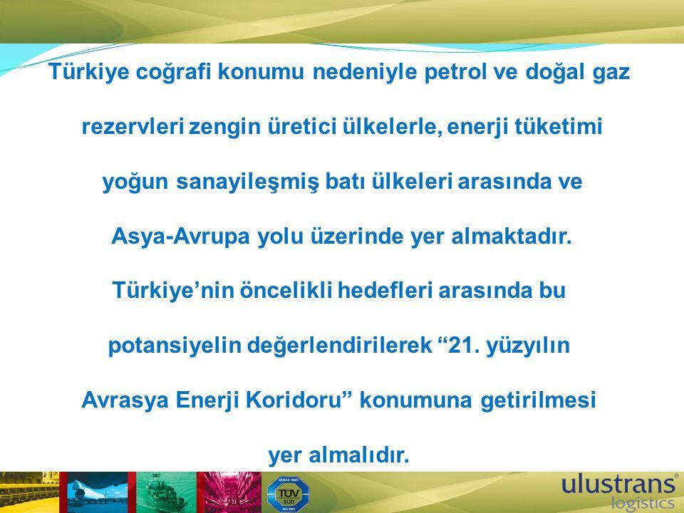 Türkiye coğrafi konumu nedeniyle petrol ve doğal gaz rezervleri zengin üretici ülkelerle, enerji tüketimi yoğun sanayileşmiş batı ülkeleri arasında ve