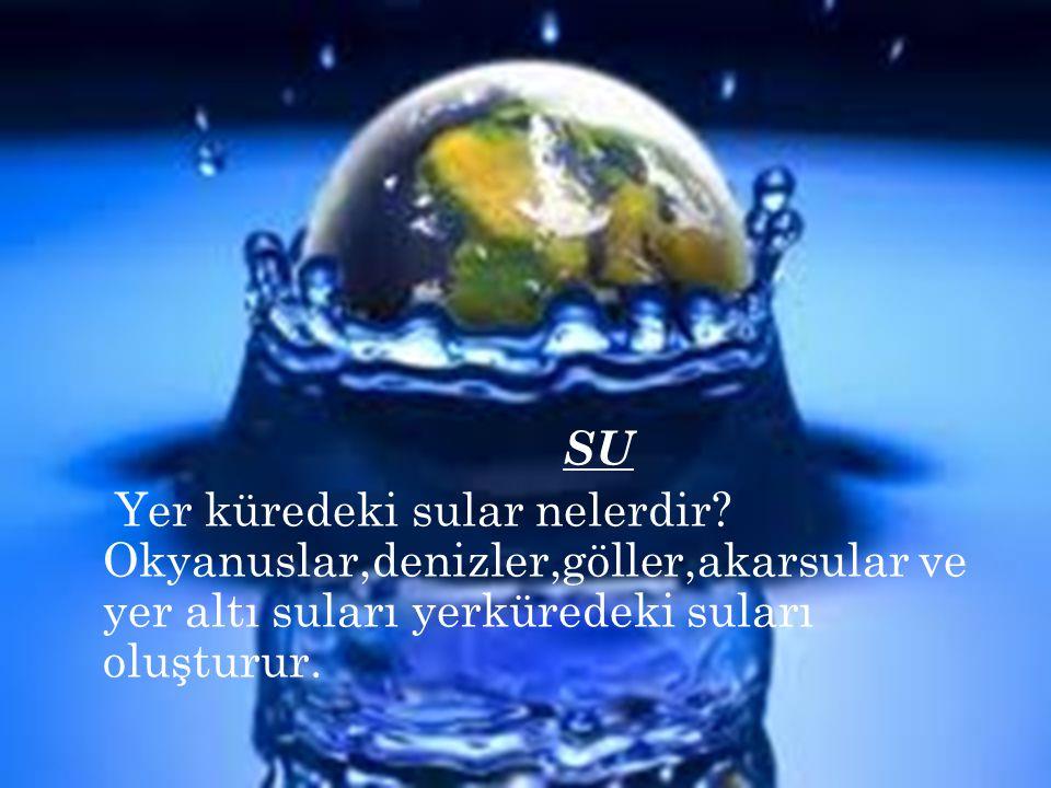 SU Yer küredeki sular nelerdir? Okyanuslar,denizler,göller,akarsular ve yer altı suları yerküredeki suları oluşturur.