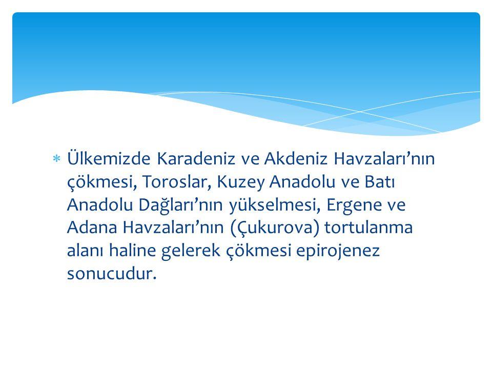  Ülkemizde Karadeniz ve Akdeniz Havzaları'nın çökmesi, Toroslar, Kuzey Anadolu ve Batı Anadolu Dağları'nın yükselmesi, Ergene ve Adana Havzaları'nın