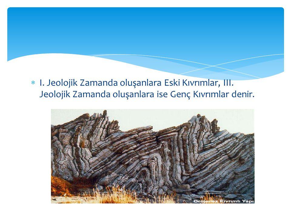  I. Jeolojik Zamanda oluşanlara Eski Kıvrımlar, III. Jeolojik Zamanda oluşanlara ise Genç Kıvrımlar denir.